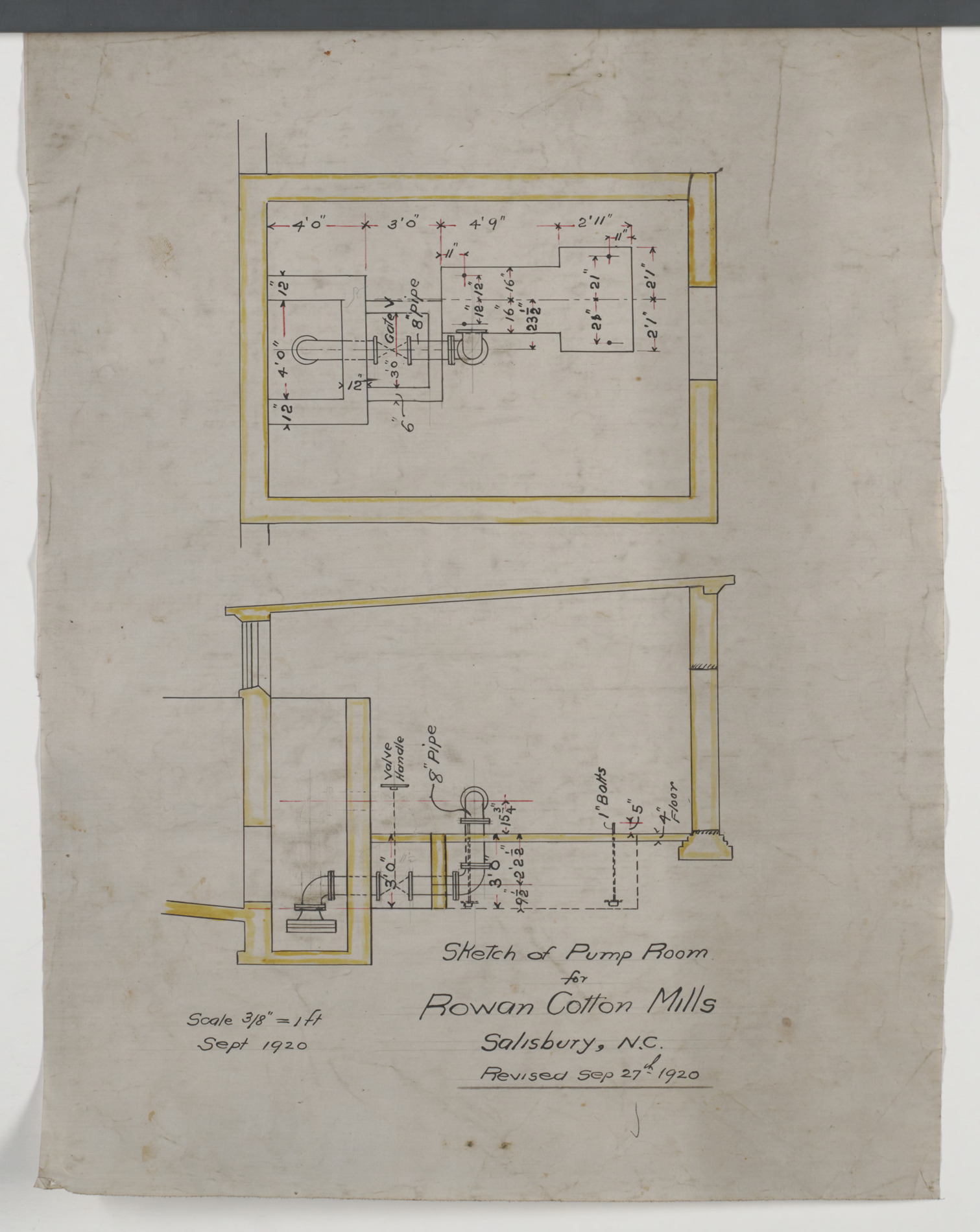 Pump room floor plan and sectional elevation hannah for Carolina plan room