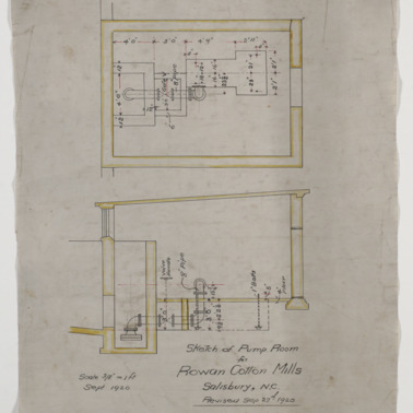 Pump room floor plan and sectional elevation