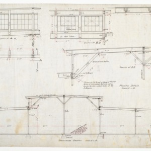 Winder room elevation, sectional elevations and truss details