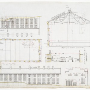 Boiler and reclaiming room elevations, floor plan, roof plan, sectional elevation and cornice details